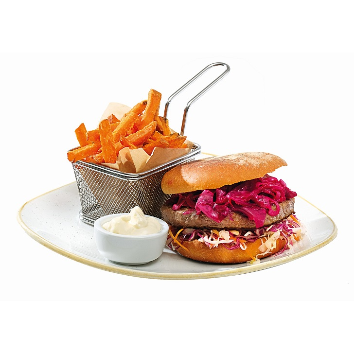 Moose burger with coleslaw and sweet and sour beef salad, sweet french fries and mayonnaise