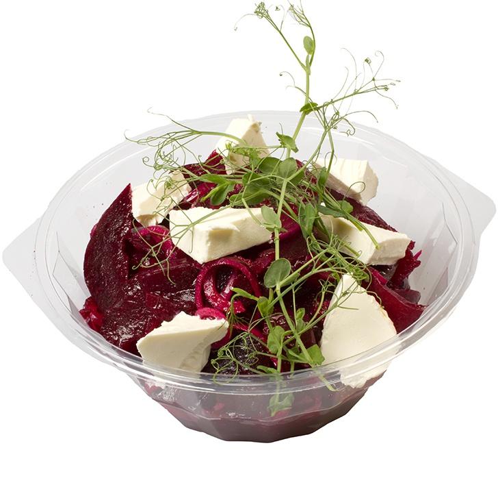Маринованный в уксусе из малины салат из свеклы с сыром фета