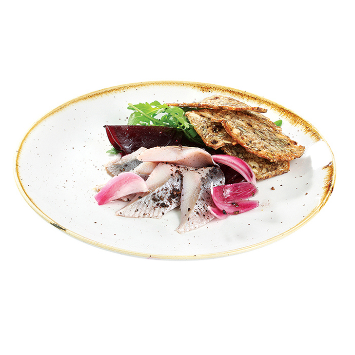 Beet Carpaccio with sweet and sour herring, sprouting cress and whole wheat bread crisps