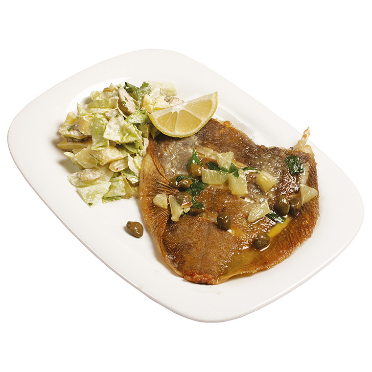 Flounder with lemon - capers butter with a cold potato - cucumber salad