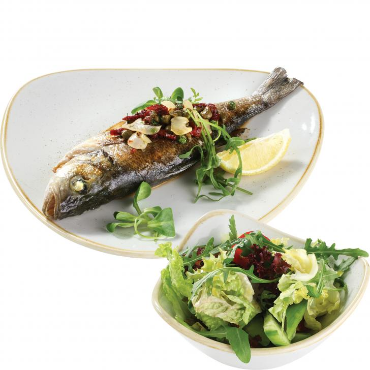 Oven baked sea bass a la Mediterraneo with fresh green salad