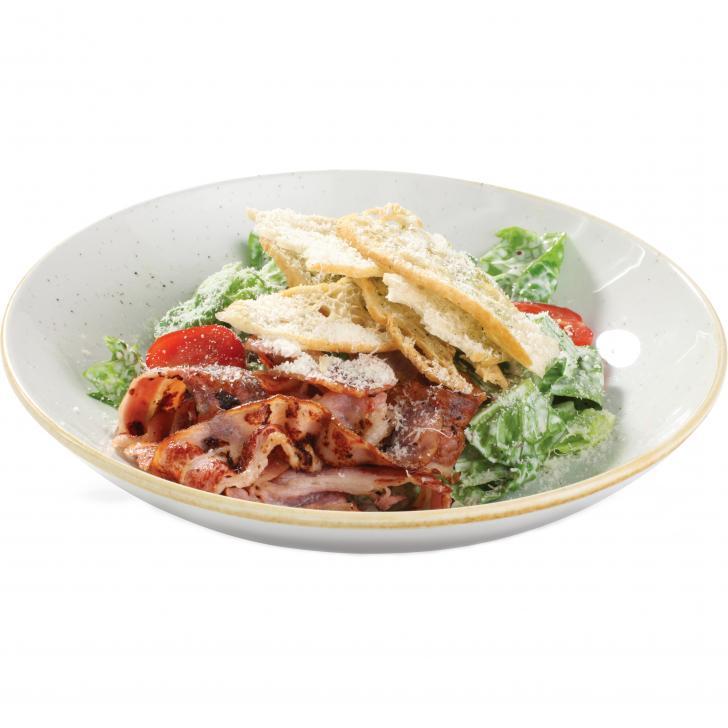 Caesar salad with crisp bacon