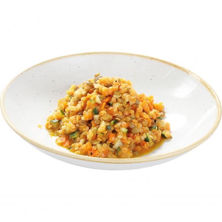 Dārzeņu - lēcu sautējums ar ajūrvēdiskajām garšvielām (viegli ass)