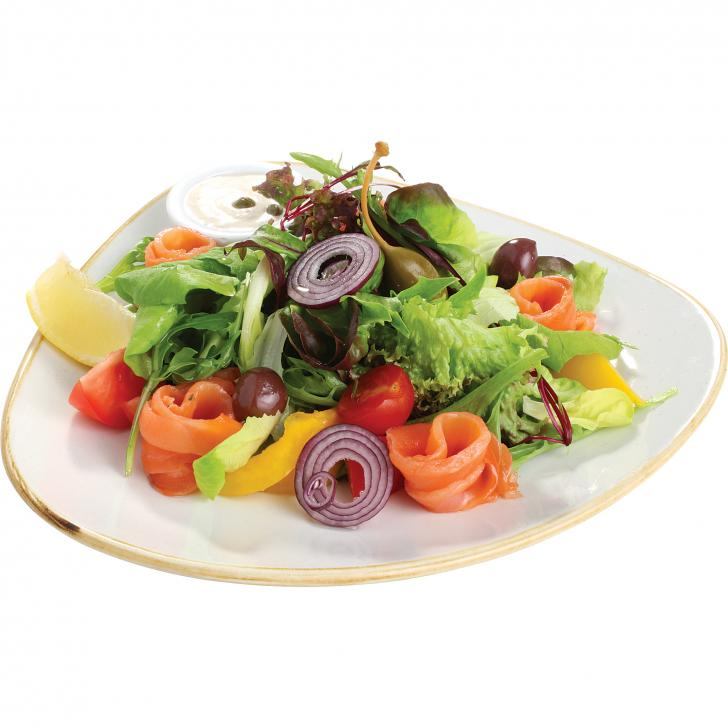 Vegetable salad with salmon and capper - mayonnaise sauce