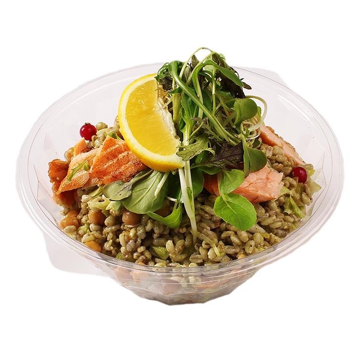 Pearl barley salad with Turkish peas and salmon