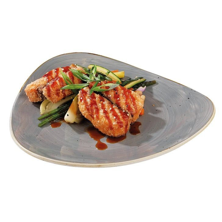 Salmon reriyaki with vegetables wok