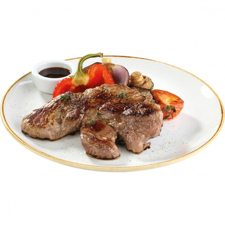 Black Angus Beef Rump steak with grilled vegetables and pomegranate sauce