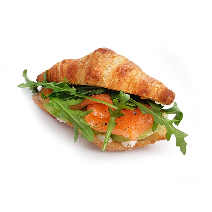 Small croissant with salmon, cucumbers and grain mustard sauce