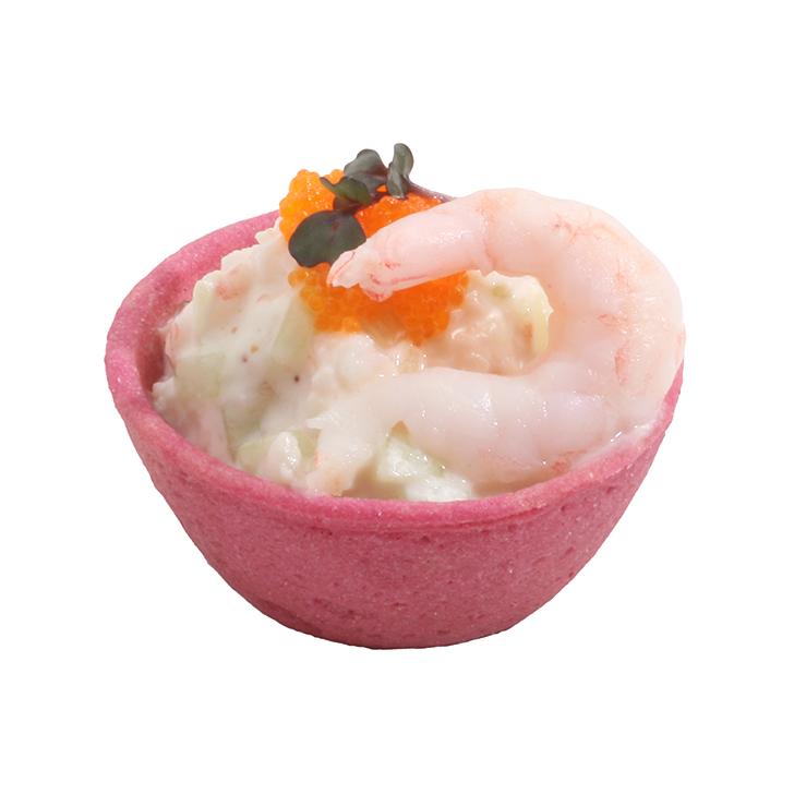 Mini groziņš ar garneļu un gurķu salātiem