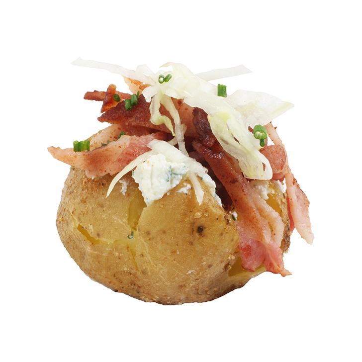 Мини-картофель в мундире с творожным  кремом и хрустящим беконом