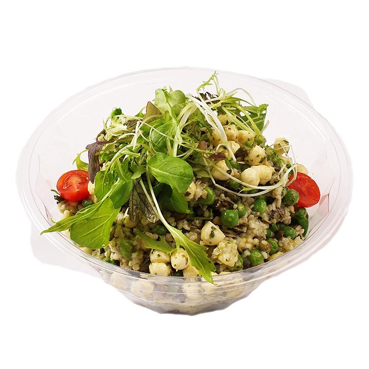 Groats salad with green peas
