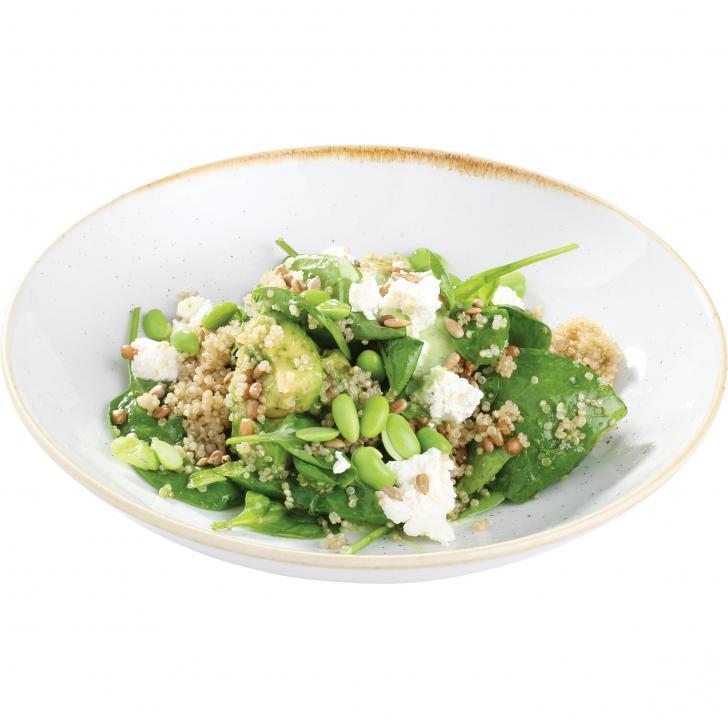 Spinātu salāti ar Flajolet pupiņām, kvinoju un avokado