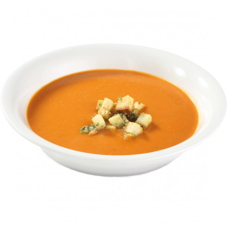 Tomato cream soup with basil croutons