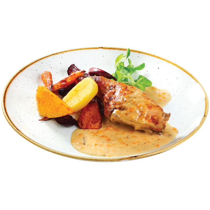 Rabbit in rosemary - cream sauce, served with autumn vegetables