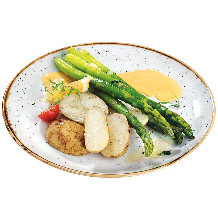 Steamed asparagus with lemon- mint butter, Bearnaise sauce and new potatoes