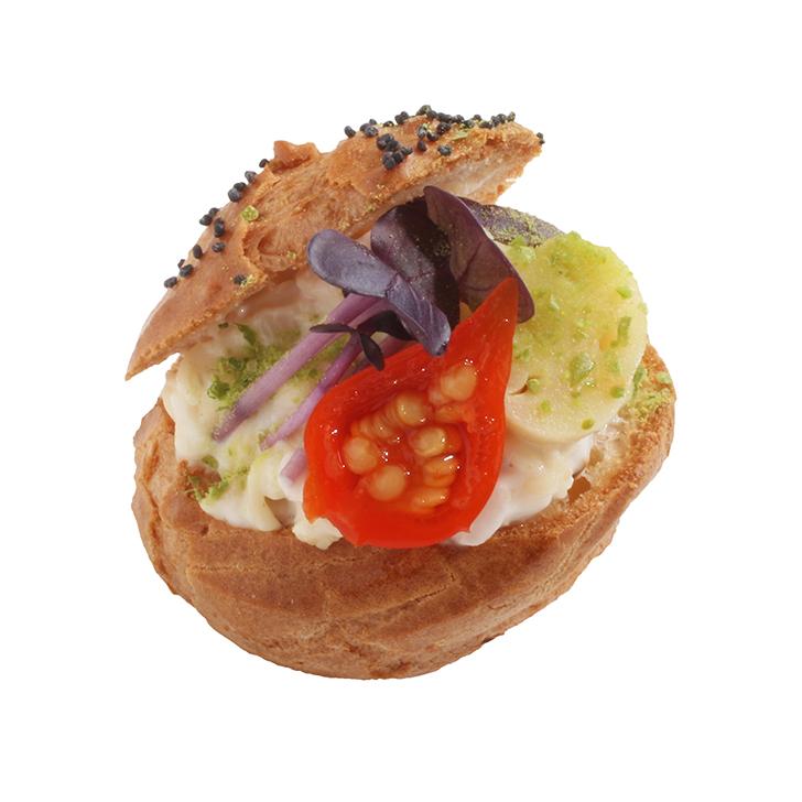 Profitrol with smoked chicken salad