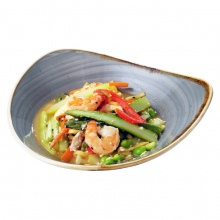 Asian wok with asparagus, egg noodles and tiger prawns