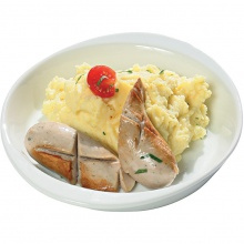 White pork  sausage with mashed potatoes