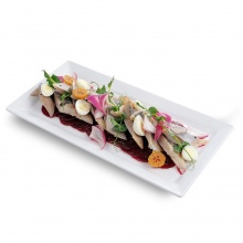 Beet carpaccio with marinated herring fillet Swedish style