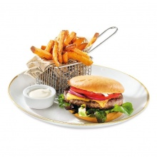 Black Angus beef burger served with sweet patato fries