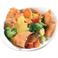 Crispy fried salmon wiyh vegetable-potato mix