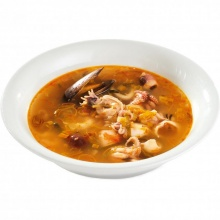 French vegetable bouillon with seafood