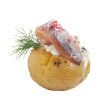 """Garšaugos cepts mini kartupelis  """"mundierī""""  ar biezpiena krēmu, ķilavu un lociņiem"""