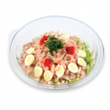 Greenland shrimps salad with cream bonjour sauce and iceberg lettuce