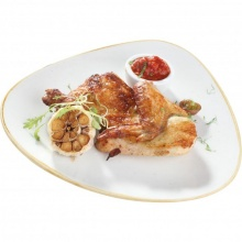 Grilled Half Chicken with adzhika and fried garlic cloves