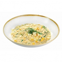 Pearl barley risotto with pumpkin and spinach