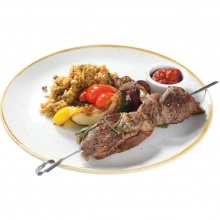 Lamb skewers with lentil and bulgur risoto and grilled vegetables