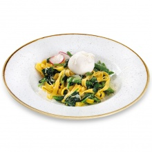 Pasta Tagliatelle with asparagus, spinach and fresh burrata