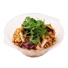 Pearl couscous salad with grilled chicken breast