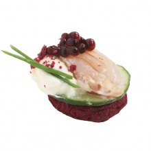 Spicy Beet cake with lemon cream and salted pike-perch fillets