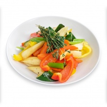 Seasonal grilled vegetables (prepared for frying)