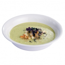 Asparagus cream soup with cress sprouts