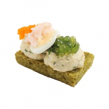 Spinach bread canapes with crayfish cream, dill tapioca, quail egg and greens