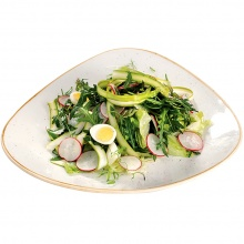 Fresh asparagus with lettuce and radishes, served with spring onion vinaigrette sauce and quial eggs