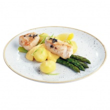 Steamed asparagus with grilled chicken breast medallions, Hollandaise Sauce and new potatoes