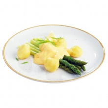 Steamed asparagus with lemon-mint butter, Hollandaise Sauce and new potatoes