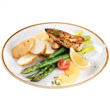 Steamed asparagus served with grilled chicken breast medallions, Bearnaise sauce and new potatoes