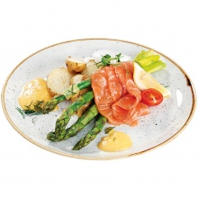 Steamed asparagus served with salted salmon, egg Benedict, Bearnaise sauce and new potatoes