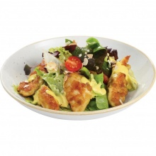 Good old vegetable salad with marinated chicken slices and curry sauce