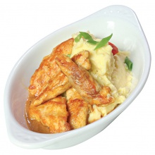 Chicken Fillet strips in creamy sauce with mashed potatoes